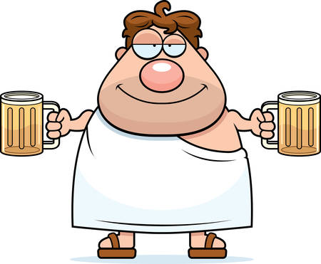 A happy cartoon frat boy with two beers. Illustration