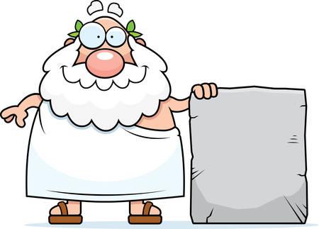 Een happy cartoon Griekse filosoof met een stenen tablet.