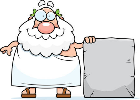 A happy cartoon Greek philosopher with a stone tablet.