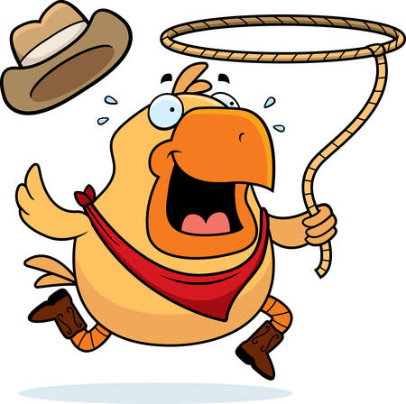 A happy cartoon rodeo chicken with a lasso.