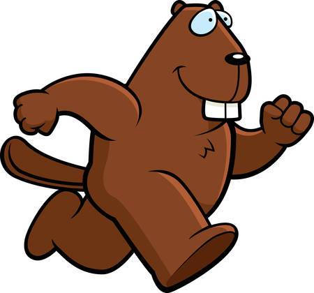 A happy cartoon beaver running and smiling. 向量圖像