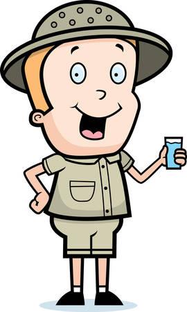 médula: Un explorador de dibujos animados feliz con un vaso de agua.