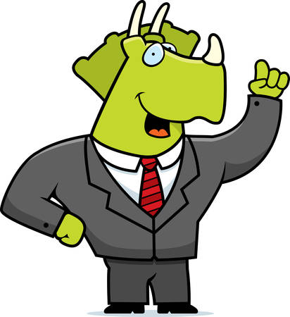 triceratops: A happy cartoon dinosaur in a business suit.