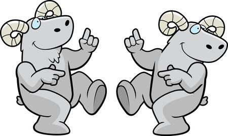 A happy cartoon ram dancing and smiling.