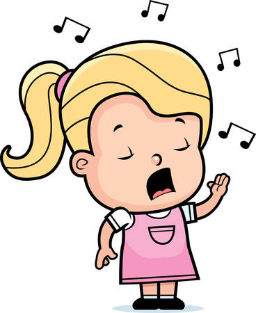 A cartoon toddler girl singing a song.
