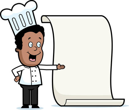 A happy cartoon kid chef with a big menu. Zdjęcie Seryjne - 26468933