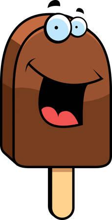 helado caricatura: Una barra de helado de dibujos animados sonriente y feliz.