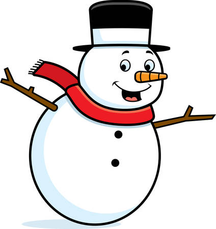 A happy cartoon snowman standing and smiling.