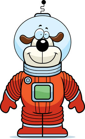 A happy cartoon dog astronaut standing and smiling.