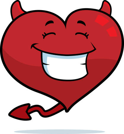 cartoon devil: A cartoon devil heart smiling and happy. Illustration