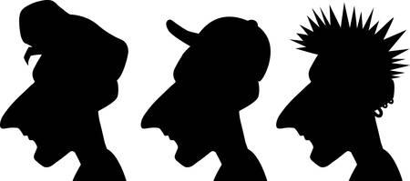 Three different silhouette illustration of men's hairstyles.