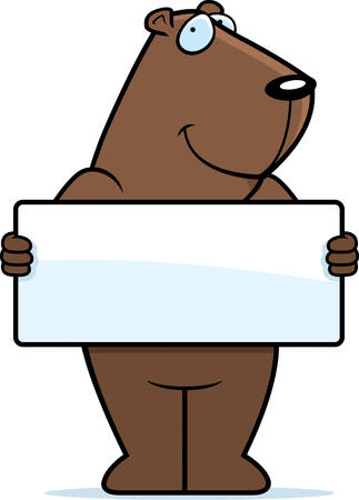A happy cartoon groundhog with a sign. Vector