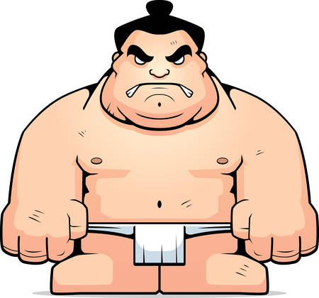 tough man: A big cartoon sumo wrestler with an angry expression.