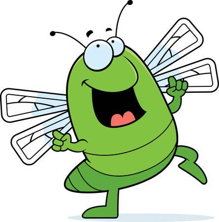 Eine glückliche Cartoon Libelle tanzen und lächelnd. Standard-Bild - 26469175