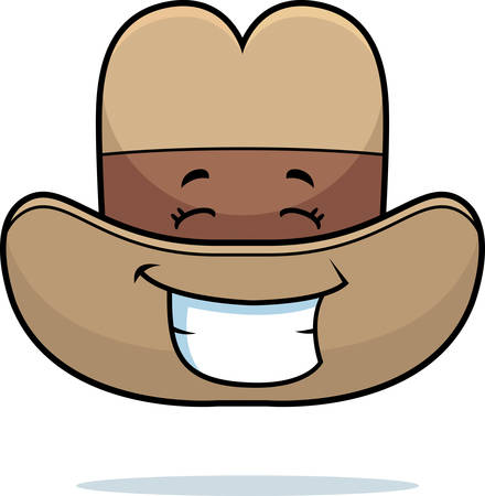A cartoon cowboy hat happy and smiling.