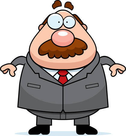 A cartoon boss in a suit with a mustache.