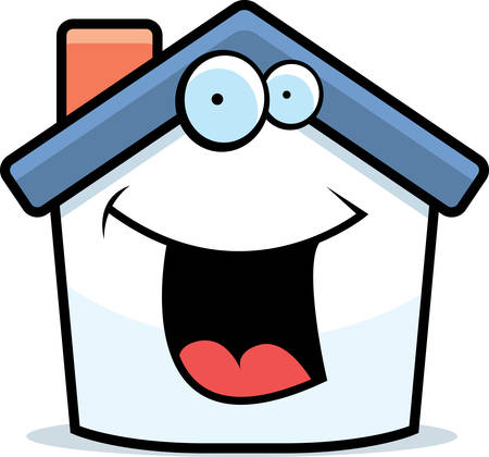 A cartoon small house happy and smiling.