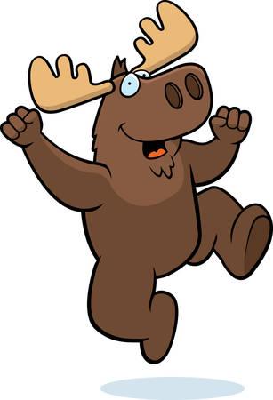 Een happy cartoon moose springen en glimlachen.
