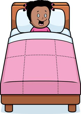 A happy cartoon girl ready for bedtime.