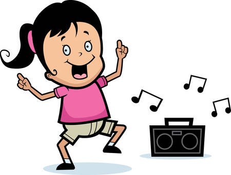 A happy cartoon girl dancing and smiling.