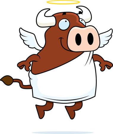 A happy cartoon cow with angel wings and halo. 向量圖像