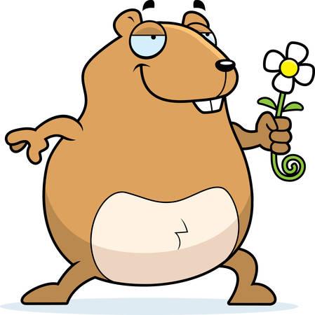 A happy cartoon hamster with a flower. Illustration