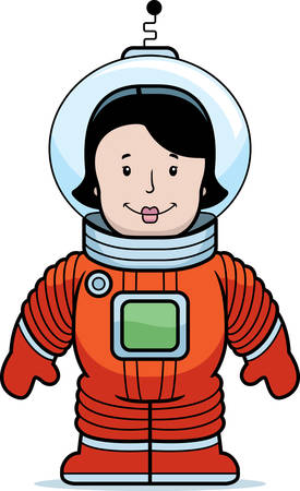 A happy cartoon woman astronaut in a spacesuit.