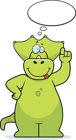 A happy cartoon dinosaur thinking and smiling.