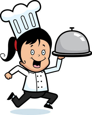 A happy cartoon kid chef delivering a tray of food.
