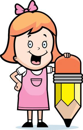 鉛筆で幸せな漫画の女の子。