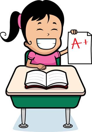 good: A happy cartoon girl student with good grades. Illustration