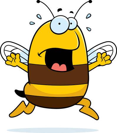 A cartoon bee running in a panic. Illustration