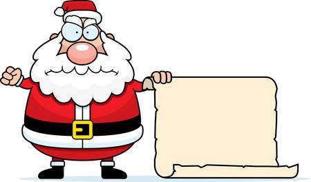 Een cartoon van Santa Claus met zijn ondeugende lijst.