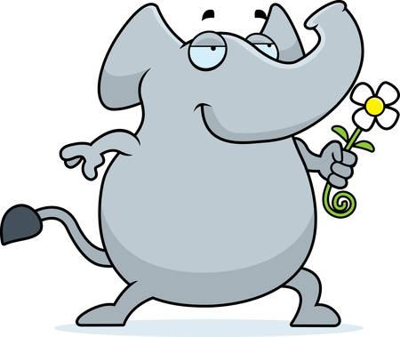 A happy cartoon elephant with a flower.
