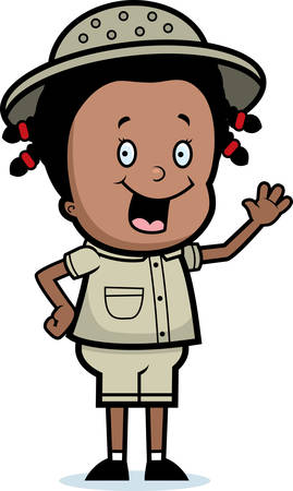 A happy cartoon girl explorer waving and smiling.