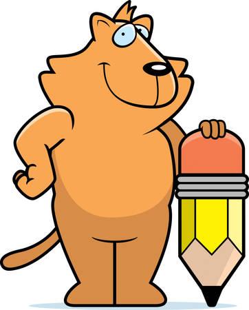 Un chat de bande dessinée heureuse avec un crayon. Banque d'images - 26531172