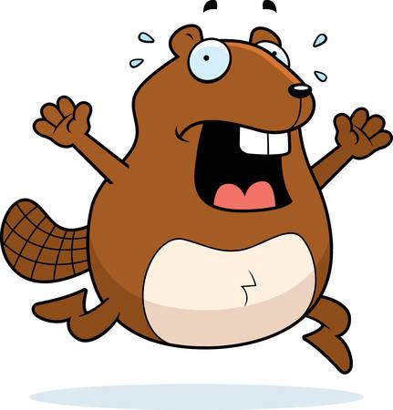 fleeing: A cartoon beaver running in a panic.