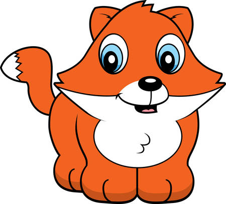 A cartoon baby fox cub smiling and happy. Illustration