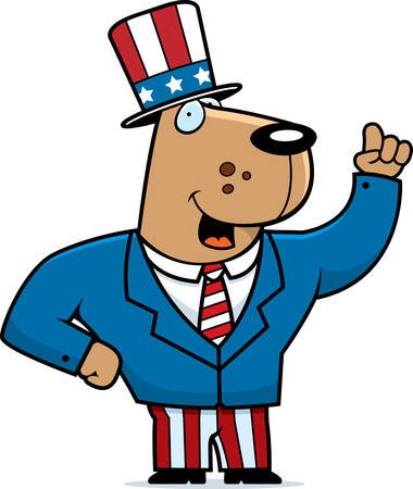 A happy cartoon dog in a patriotic suit.