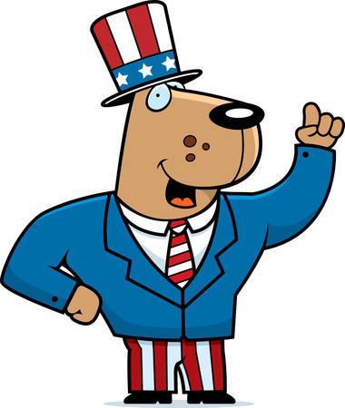 A happy cartoon dog in a patriotic suit.