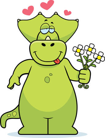 A happy cartoon dinosaur with a bouquet of flowers.