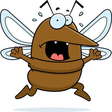 A cartoon mosquito running in a panic.