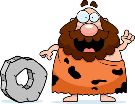 A cartoon caveman inventing the wheel and smiling.