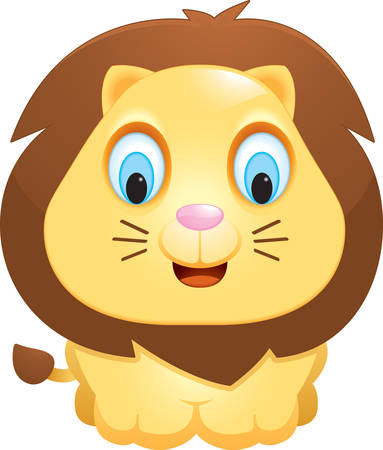 A happy cartoon baby lion standing and smiling. Vector