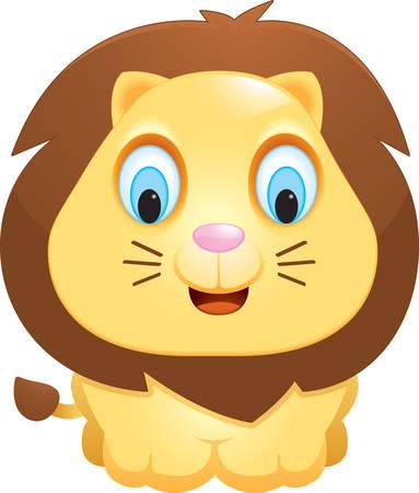 Un bebé feliz historieta del león de pie y sonriente. Ilustración de vector