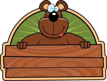 A happy cartoon bear with a wooden sign. Ilustracja