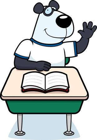 A happy cartoon panda bear student at a desk.