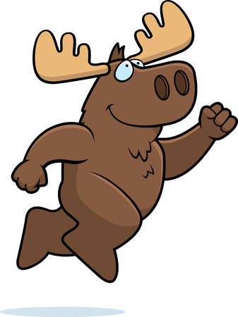 A happy cartoon moose jumping and smiling.