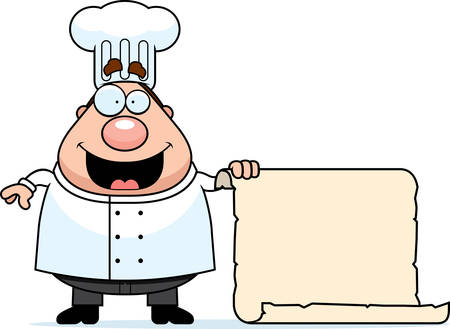 A happy cartoon chef with a menu. Zdjęcie Seryjne - 26594998