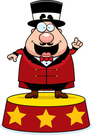 ringmaster: A happy cartoon ringmaster announcing the show. Illustration